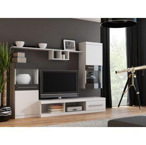 Nick - Obývacia stena (biela/biela,čierna lesk)
